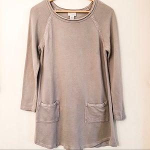 Soft Surroundings Sweater Long Gray 2 Pocket